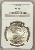 Peace Dollars: , 1924 $1 MS63 NGC. NGC Census: (10147/27225). PCGS Population(10568/15951). Mintage: 11,811,000. Numismedia Wsl. Price for ...