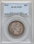 Barber Half Dollars: , 1914 50C VF25 PCGS. PCGS Population (18/210). NGC Census: (2/125).Mintage: 124,300. Numismedia Wsl. Price for problem free...