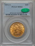 Liberty Eagles: , 1892-S $10 MS62 PCGS. CAC. PCGS Population (80/63). NGC Census:(86/21). Mintage: 115,500. Numismedia Wsl. Price for proble...