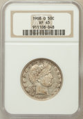 Barber Half Dollars: , 1908-O 50C XF45 NGC. NGC Census: (16/181). PCGS Population(36/294). Mintage: 5,360,000. Numismedia Wsl. Price for problem ...
