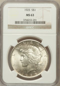 Peace Dollars: , 1925 $1 MS63 NGC. NGC Census: (10030/32477). PCGS Population(10313/25425). Mintage: 10,198,000. Numismedia Wsl. Price for ...