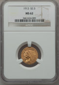 Indian Quarter Eagles: , 1913 $2 1/2 MS62 NGC. NGC Census: (3711/2721). PCGS Population(1643/2022). Mintage: 722,000. Numismedia Wsl. Price for pro...