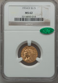 Indian Quarter Eagles: , 1914-D $2 1/2 MS62 NGC. CAC. NGC Census: (3399/2774). PCGSPopulation (1657/1799). Mintage: 448,000. Numismedia Wsl. Price ...