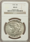 Peace Dollars: , 1925 $1 MS63 NGC. NGC Census: (10030/32477). PCGS Population(10312/25454). Mintage: 10,198,000. Numismedia Wsl. Price for ...