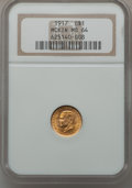 Commemorative Gold: , 1917 G$1 McKinley MS64 NGC. NGC Census: (410/537). PCGS Population(806/1016). Mintage: 10,000. Numismedia Wsl. Price for p...
