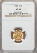 Liberty Quarter Eagles: , 1907 $2 1/2 MS64 NGC. NGC Census: (2056/1519). PCGS Population(2207/1504). Mintage: 336,200. Numismedia Wsl. Price for pro...