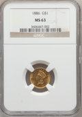 Gold Dollars: , 1886 G$1 MS63 NGC. NGC Census: (45/109). PCGS Population (96/142).Mintage: 5,000. Numismedia Wsl. Price for problem free N...