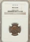 Lincoln Cents: , 1917-D 1C MS62 Brown NGC. NGC Census: (46/137). PCGS Population(24/151). Mintage: 55,120,000. Numismedia Wsl. Price for pr...