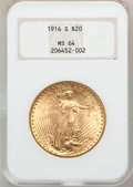Saint-Gaudens Double Eagles: , 1916-S $20 MS64 NGC. NGC Census: (1425/940). PCGS Population(1608/1264). Mintage: 796,000. Numismedia Wsl. Price for probl...