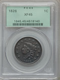 Large Cents: , 1826 1C XF45 PCGS. PCGS Population (19/97). NGC Census: (16/152).Mintage: 1,517,425. Numismedia Wsl. Price for problem fre...