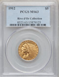 Indian Half Eagles: , 1912 $5 MS63 PCGS. Ex: Rive d'Or Collection. PCGS Population(1286/467). NGC Census: (1064/406). Mintage: 790,000. Numismed...