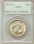 Walking Liberty Half Dollars: , 1943-D 50C MS65 PCGS. PCGS Population (3006/1830). NGC Census:(1748/1662). Mintage: 11,346,000. Numismedia Wsl. Price for ...