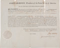 Autographs:U.S. Presidents, James Madison Letter of Marque Signed....