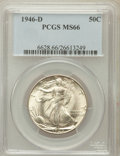 Walking Liberty Half Dollars: , 1946-D 50C MS66 PCGS. PCGS Population (1841/44). NGC Census:(2152/112). Mintage: 2,151,000. Numismedia Wsl. Price for prob...