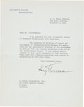 Autographs:U.S. Presidents, Harry S. Truman Typed Letter Signed.... (Total: 2 Items)