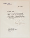 Autographs:U.S. Presidents, Harry S. Truman Typed Letter Signed....