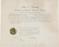 Autographs:U.S. Presidents, John F. Kennedy Appointment Signed....