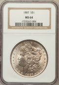 Morgan Dollars: , 1887 $1 MS64 NGC. NGC Census: (76124/29374). PCGS Population(54715/16220). Mintage: 20,290,710. Numismedia Wsl. Price for ...