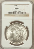 Morgan Dollars: , 1888 $1 MS64 NGC. NGC Census: (18185/6635). PCGS Population(13465/3918). Mintage: 19,183,832. Numismedia Wsl. Price for pr...