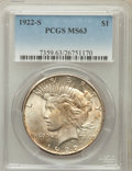 Peace Dollars: , 1922-S $1 MS63 PCGS. PCGS Population (2364/2115). NGC Census:(1706/2034). Mintage: 17,475,000. Numismedia Wsl. Price for p...