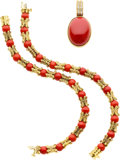 Estate Jewelry:Lots, Coral, Diamond, Gold Jewelry. ...