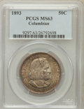 Commemorative Silver: , 1893 50C Columbian MS63 PCGS. PCGS Population (1619/2182). NGCCensus: (1239/2583). Mintage: 1,550,405. Numismedia Wsl. Pri...