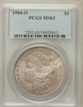 Morgan Dollars: , 1904-O $1 MS63 PCGS. PCGS Population (38043/57707). NGC Census:(33774/75722). Mintage: 3,720,000. Numismedia Wsl. Price fo...