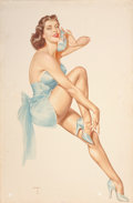 Paintings, ALBERTO VARGAS (American, 1896-1982). Brunette in Blue with Phone (Maxine Emitt), circa 1952. Watercolor on board. 30 x ...