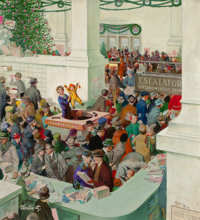 THORTON UTZ (American, 1914-1999) Love's Lost Child at Information Booth, The Saturday Evening Post Christmas c