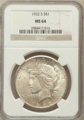 Peace Dollars: , 1922-S $1 MS64 NGC. NGC Census: (1764/270). PCGS Population(1813/303). Mintage: 17,475,000. Numismedia Wsl. Price for prob...