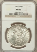 Morgan Dollars: , 1880-O $1 MS60 NGC. NGC Census: (282/5934). PCGS Population(234/6894). Mintage: 5,305,000. Numismedia Wsl. Price for probl...