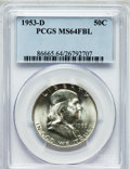 Franklin Half Dollars: , 1953-D 50C MS64 Full Bell Lines PCGS. PCGS Population (3189/1031).NGC Census: (821/325). Numismedia Wsl. Price for proble...