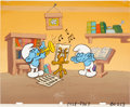 Animation Art:Production Cel, The Smurfs Publicity Cel with Original Background AnimationArt (Hanna-Barbera, undated)....