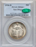 Commemorative Silver: , 1936-D 50C San Diego MS66+ PCGS. CAC. PCGS Population (768/75). NGCCensus: (433/47). Mintage: 30,092. Numismedia Wsl. Pric...