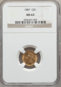 Gold Dollars: , 1887 G$1 MS63 NGC. NGC Census: (66/253). PCGS Population (124/300).Mintage: 7,500. Numismedia Wsl. Price for problem free ...