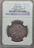 Bust Half Dollars: , 1822 50C -- Improperly Cleaned -- NGC Details. AU. NGC Census:(30/548). PCGS Population (71/423). Mintage: 1,559,573. Numi...