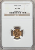 Gold Dollars: , 1889 G$1 MS63 NGC. NGC Census: (247/1243). PCGS Population(385/1575). Mintage: 29,000. Numismedia Wsl. Price for problem f...