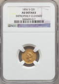 Gold Dollars: , 1856-S G$1 Type Two -- Improperly Cleaned -- NGC Details. AU. NGCCensus: (17/164). PCGS Population (31/90). Mintage: 24,60...