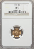 Gold Dollars: , 1874 G$1 MS63 NGC. NGC Census: (721/754). PCGS Population(773/714). Mintage: 198,820. Numismedia Wsl. Price for problemfr...