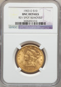 Liberty Eagles: , 1903-O $10 -- Rev Spot Removed -- NGC Details. Unc. NGC Census:(85/735). PCGS Population (66/629). Mintage: 112,771. Numis...