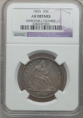 Seated Half Dollars: , 1865 50C -- Improperly Cleaned -- NGC Details. AU. NGC Census:(3/47). PCGS Population (5/51). Mintage: 511,400. Numismedia...