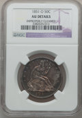 Seated Half Dollars: , 1851-O 50C -- Improperly Cleaned -- NGC Details. AU. NGC Census:(0/31). PCGS Population (4/45). Mintage: 402,000. Numismed...