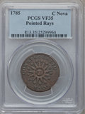 Colonials: , 1785 COPPER Nova Constellatio Copper, Pointed Rays, Large Date VF35PCGS. PCGS Population (34/155). NGC Census: (4/39). ...