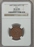 Half Cents: , 1849 1/2 C Large Date MS62 Brown NGC. C-1. NGC Census: (45/82).PCGS Population (36/70). Mintage: 39,864. Numismedia Wsl. P...