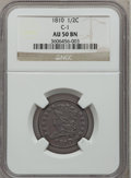 Half Cents: , 1810 1/2 C AU50 NGC. C-1. NGC Census: (7/35). PCGS Population(6/41). Mintage: 215,000. Numismedia Wsl. Price for problem f...