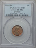 Lincoln Cents, 1944-D 1C OMM FS-502 MS64 Red and Brown PCGS. (FS-021). PCGSPopulation (3/3). ...