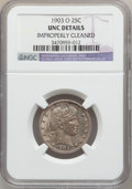 Barber Quarters: , 1903-O 25C -- Improperly Cleaned -- NGC Details. Unc. NGC Census:(0/40). PCGS Population (1/82). Mintage: 3,500,000. Numis...