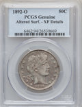 Barber Half Dollars: , 1892-O 50C -- Altered Surfaces -- PCGS Genuine. XF Details. NGCCensus: (2/202). PCGS Population (10/250). Mintage: 390,000...
