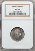 Coins of Hawaii: , 1883 25C Hawaii Quarter MS62 NGC. NGC Census: (134/665). PCGSPopulation (179/875). Mintage: 500,000. ...
