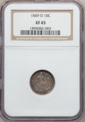 Seated Dimes: , 1849-O 10C XF45 NGC. NGC Census: (3/44). PCGS Population (11/35).Mintage: 300,000. Numismedia Wsl. Price for problem free ...